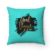 'Goal Digger' - Tiffany Blue + Gold Spun Polyester Pillow