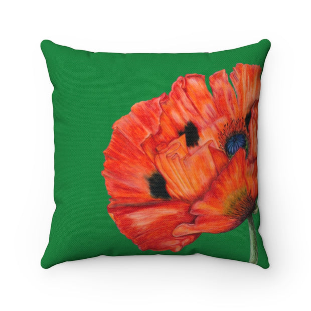 'Poppy Passion' - Green Spun Polyester Pillow