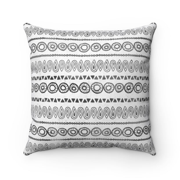 Boho Tribal Print - Black + White Spun Polyester Pillow