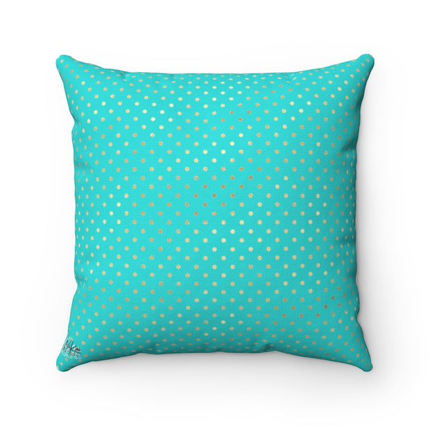 Roses - Gold + Tiffany Blue Spun Polyester Pillow