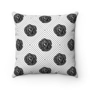 Geo Floral - Black + White Spun Polyester Pillow