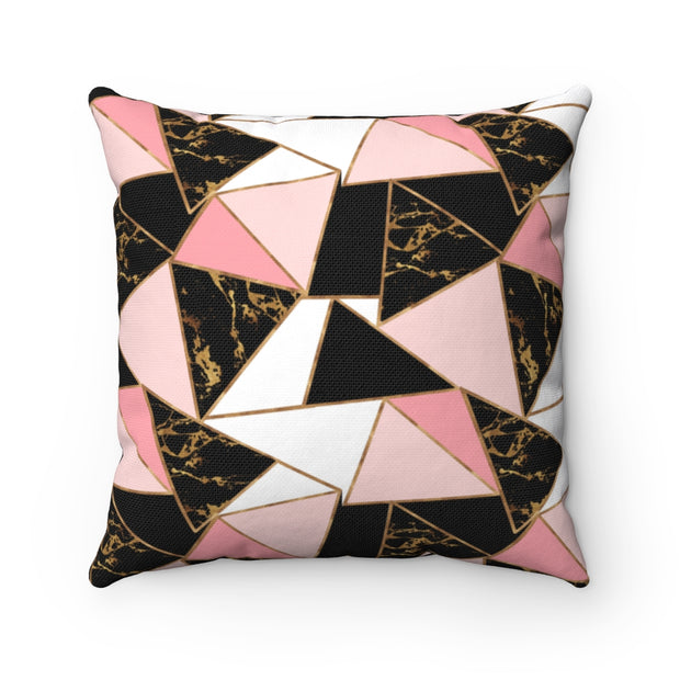 Abstract Coco - Black + Gold + Pink Spun Polyester Pillow