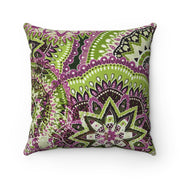 'Medallion'  Green + Purple  -  Spun Polyester Pillow