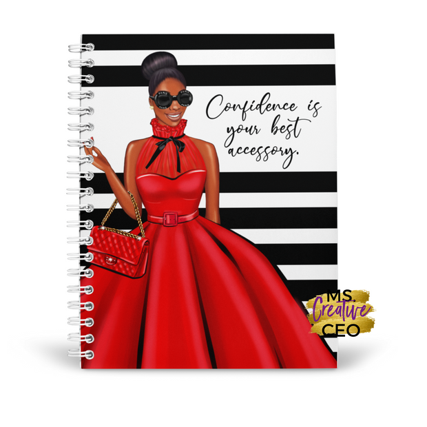 'Confidence' Melanin Spiral Bound Lined Notebook
