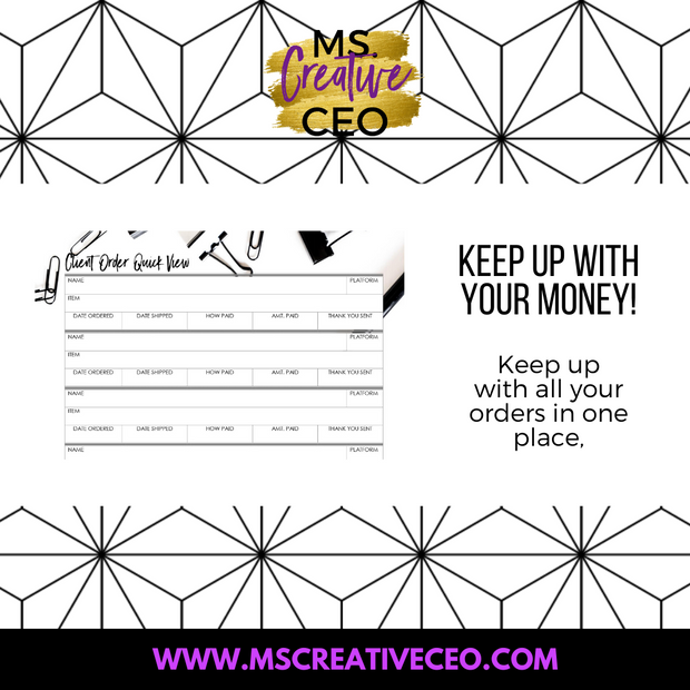 Ms. Creative CEO - Client Quick List Worksheet