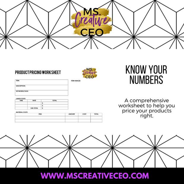 Ms. Creative CEO - Product Pricing Worksheet