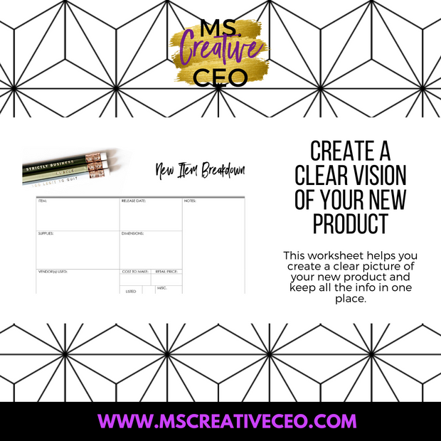 Ms. Creative CEO - New Item Breakdown Worksheet