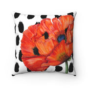 'Poppy Passion' - Black + White Spun Polyester Pillow