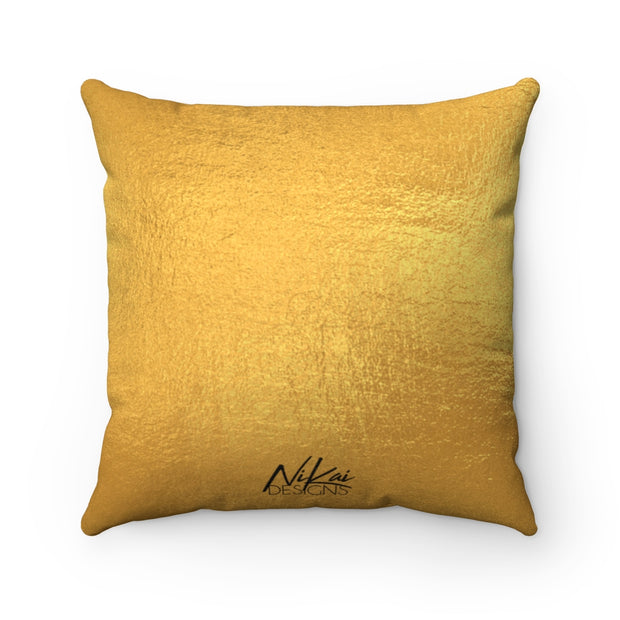 'High Standards' - Poodle Pink + Gold Faux Suede Pillow