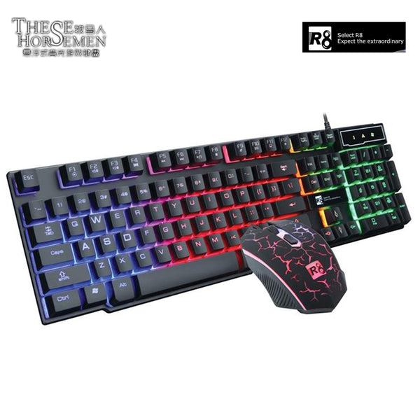 Teclado Gamer + Mouse Gamer con Luces LED  R8 1910 Combo 5