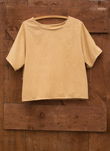 A top dyed yellow with dock leaves hangs on a wooden and metal hanger on the back of an old wooden door. The top has a round neck, and mid length sleeves.