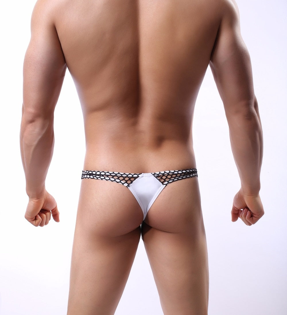 Tanga lycra con red lateral y gran blosa frontal