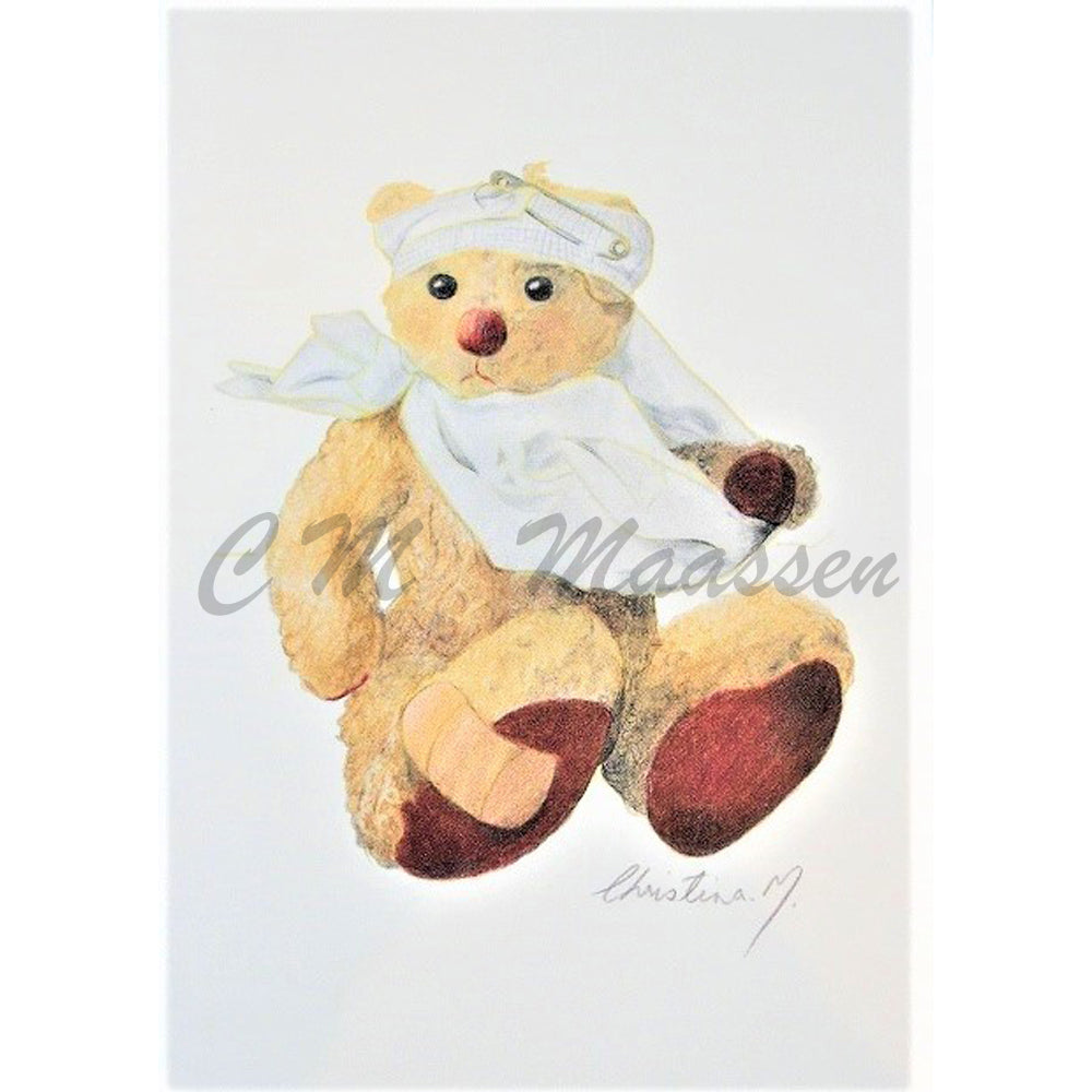 Curly Bear Get Well Cards by Christina Maassen