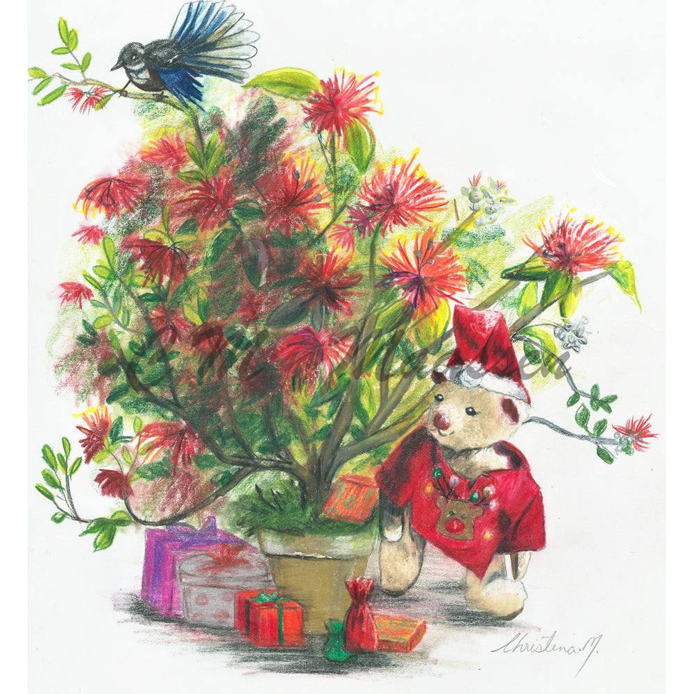 Curly Bear Kiwi Christmas Cards by Christina Maassen