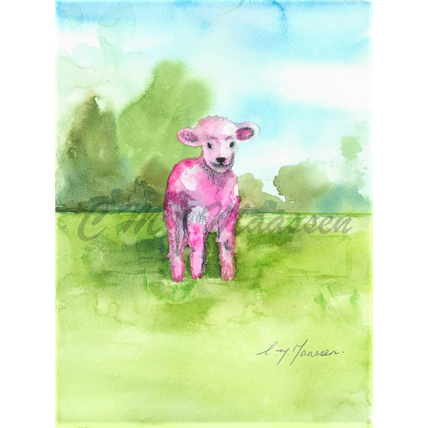 Pink Lamb Card by Christina Maassen