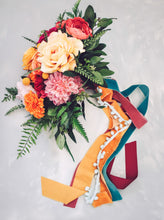 Load image into Gallery viewer, Add. of Streaming Ribbons to Bouquet - Pom Pom Trim
