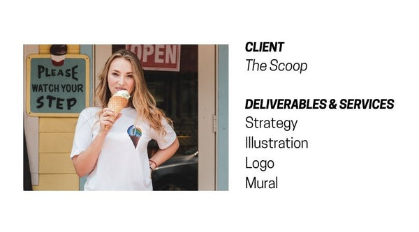 Client: The Scoop. Strategy, Illustration, Logo, and Mural done by Ladder Mouse and Brandy Klindworth
