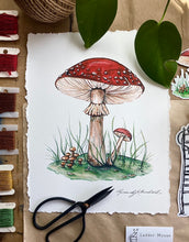 "Load image into Gallery viewer, ""Forest Floor"" Amanita Mushroom Cotton Art Print with Hand-Torn Deckled Edges"