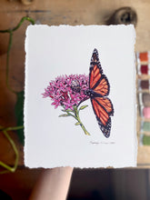 "Load image into Gallery viewer, ""Pollinators"" Botanical Butterfly Cotton Art Print with Hand-Torn Deckled Edges"