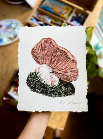 """Slumber"" Mushroom Art Print with Hand-Torn Deckled Edges"