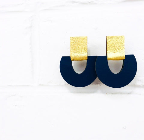 BEE Halifax Drop Earrings - Navy with Gold Leather