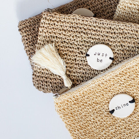 Caroline C Praia Weaved Jute Clutch 'Palms'