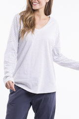 Elm Fundamental Long Sleeved V Neck Tee - Black Stripe