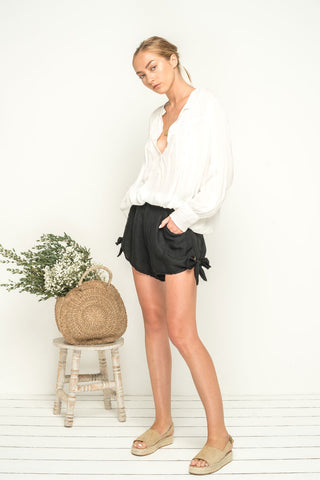 Yours Truly Shorts - Black Linen