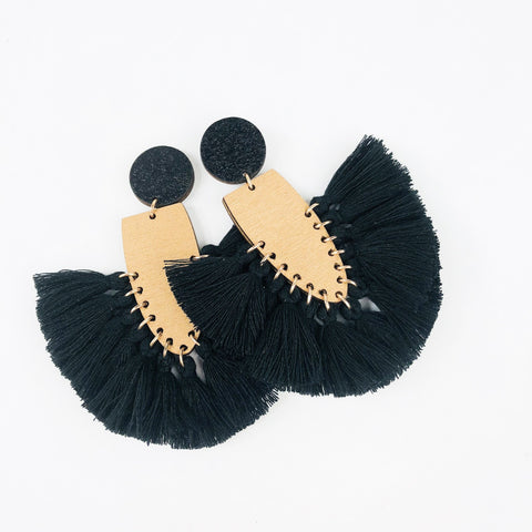 BEE Fielder Drop Earrings - Duo Black Tassels