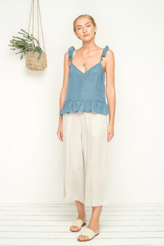 Boy Meets Girl Cami - Oceanic Blue Linen