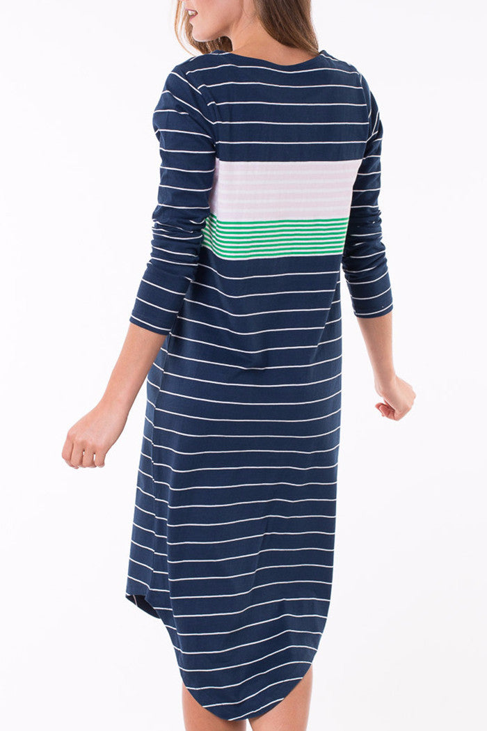 ELM Eva Midi Dress Navy & Multi Stripe