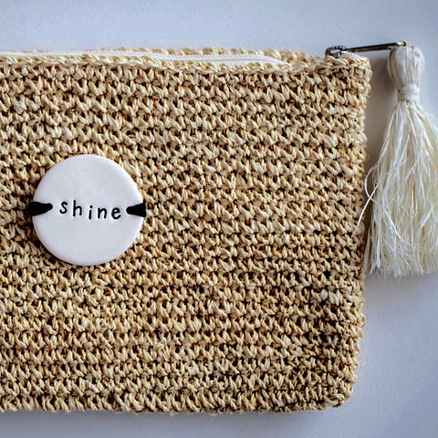 Caroline C Praia Weaved Jute Clutch 'Shine'