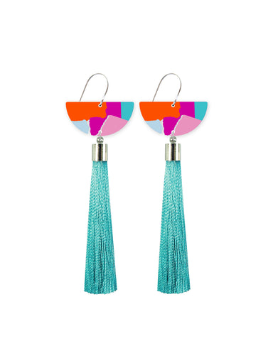 Moon Tassel Drop Earrings