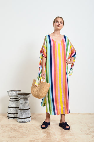 Rainbow Linen Kaftan Dress