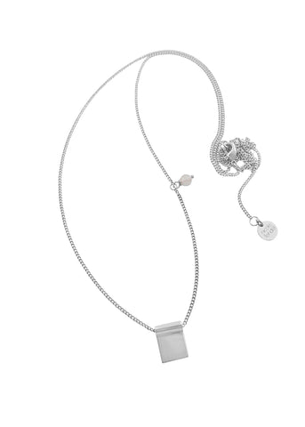 Nicole Fendel Silver Sofia Long Plain Bead Necklace