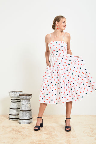 Spotty Tiered Midi Dress