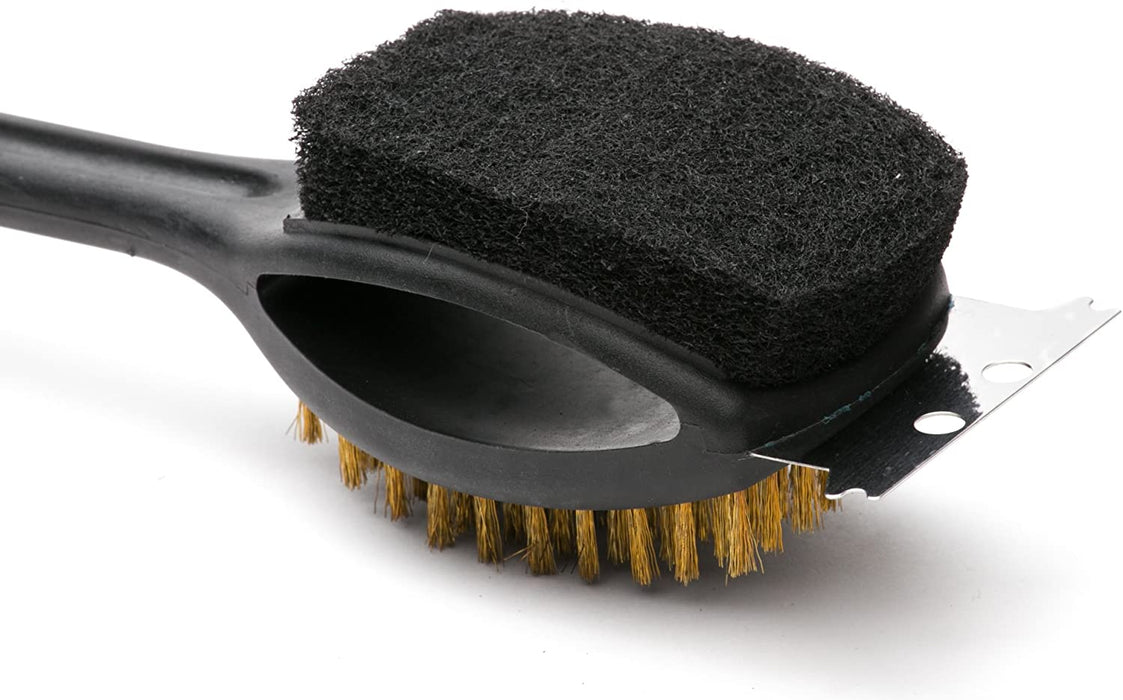 Outset Long Plastic Grill Brush with Pad & Scraper