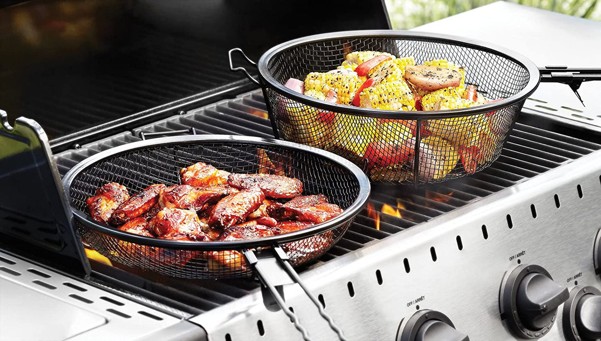 Outset Jumbo Outdoor Grill Basket with Removable Handles
