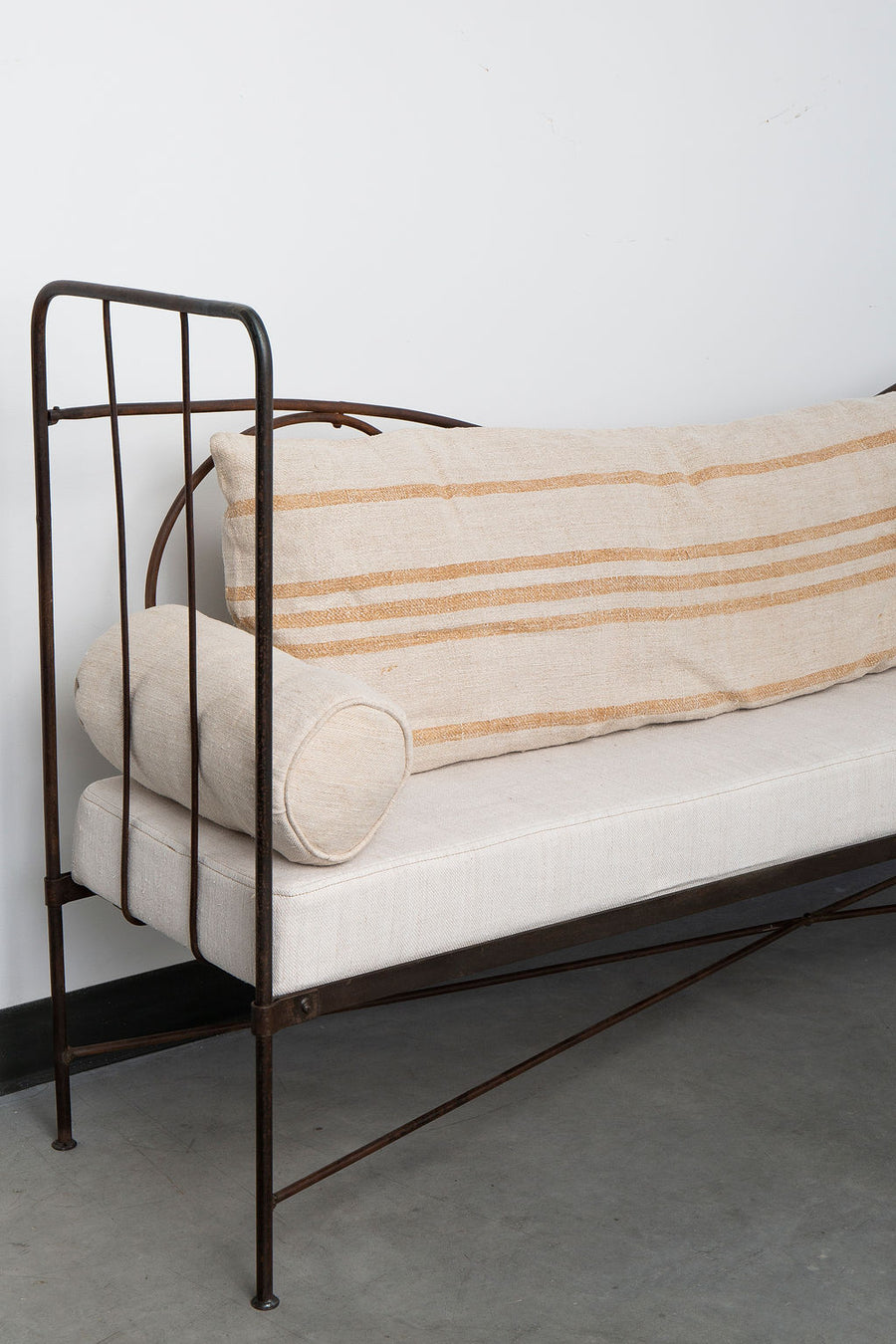 Wrought Iron Bench with Upholstered Vintage Linen