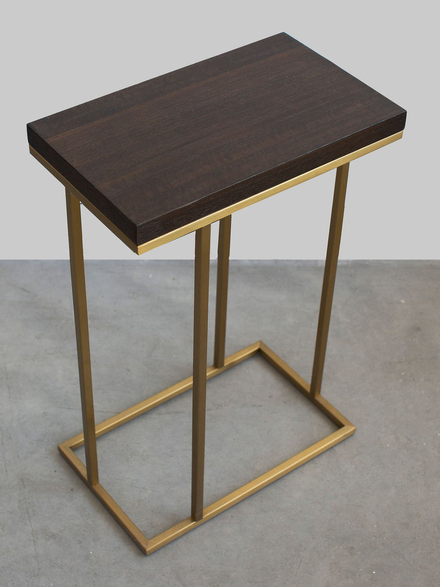 Interlude Elijah Side Table, Brushed Brass and Eucalyptus