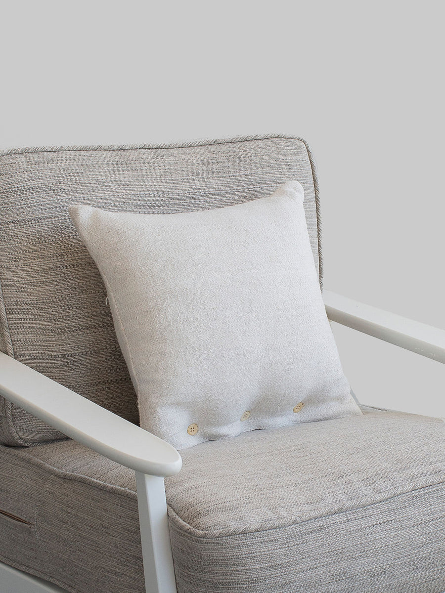 Cream Belgian Linen Button Pillow