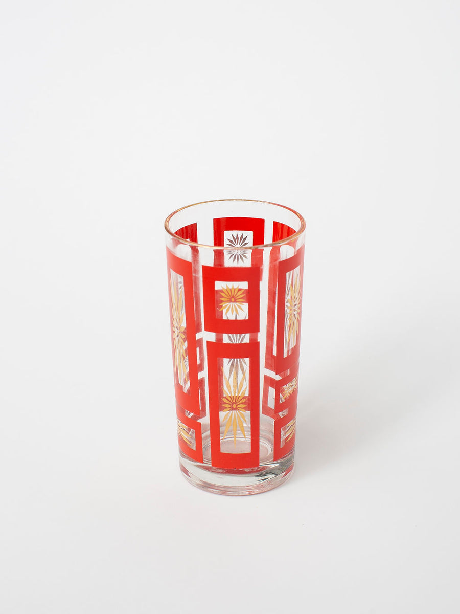 Vintage Red and Gold Atomic Highball Glasses, Set of 4