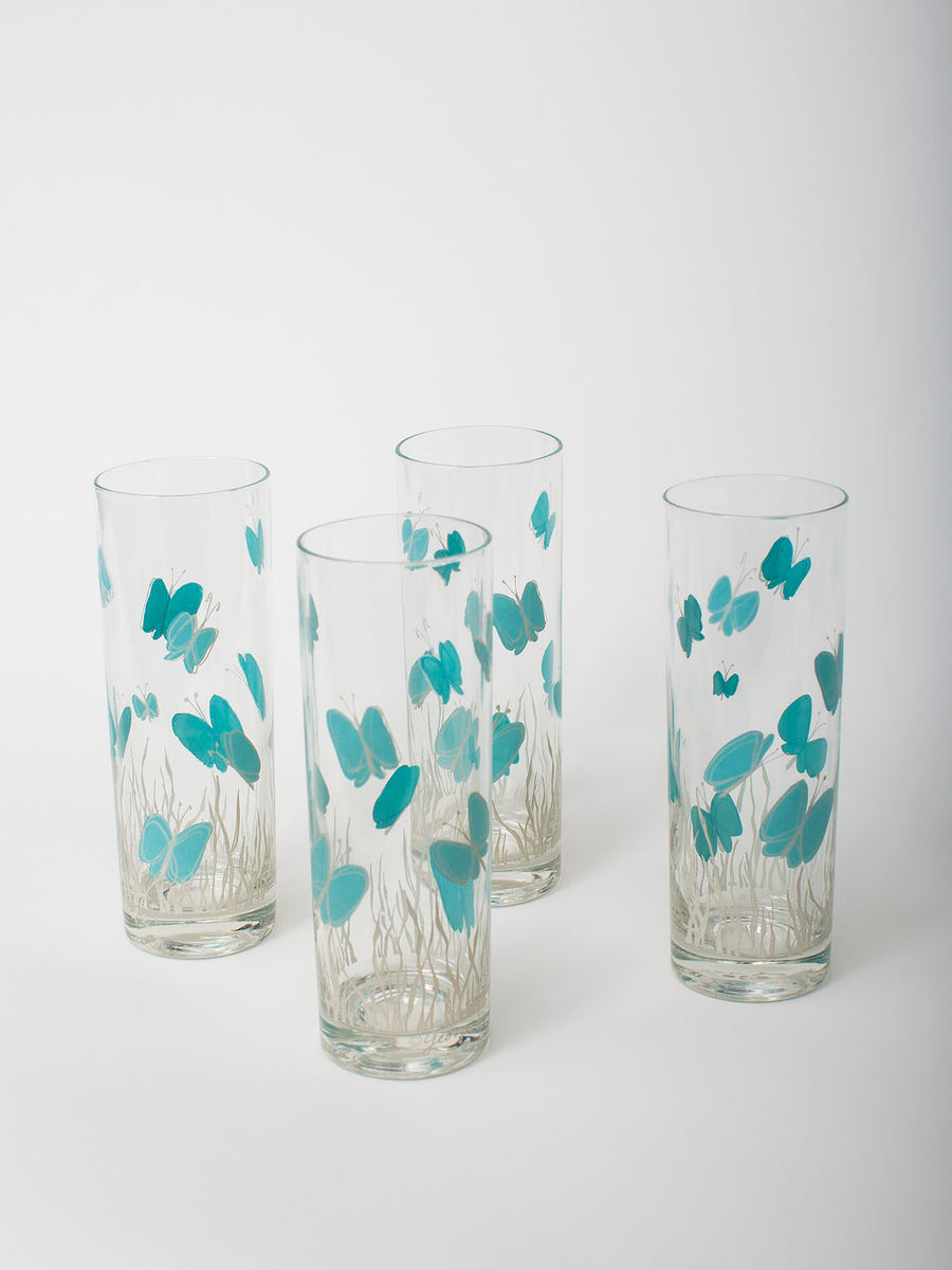 Vintage Blue Butterfly Highball Glassware, Set of 6