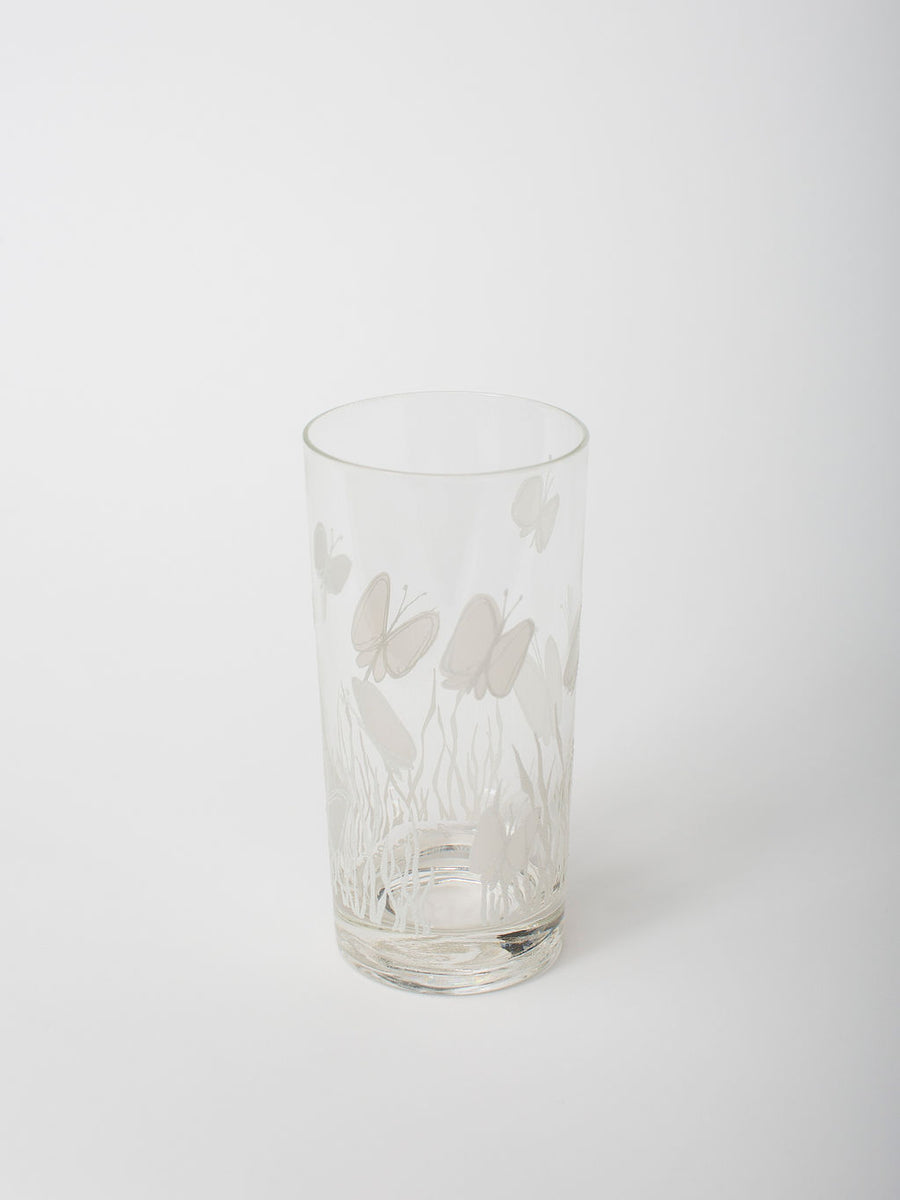 Vintage Butterfly Highball Glassware, Set of 4