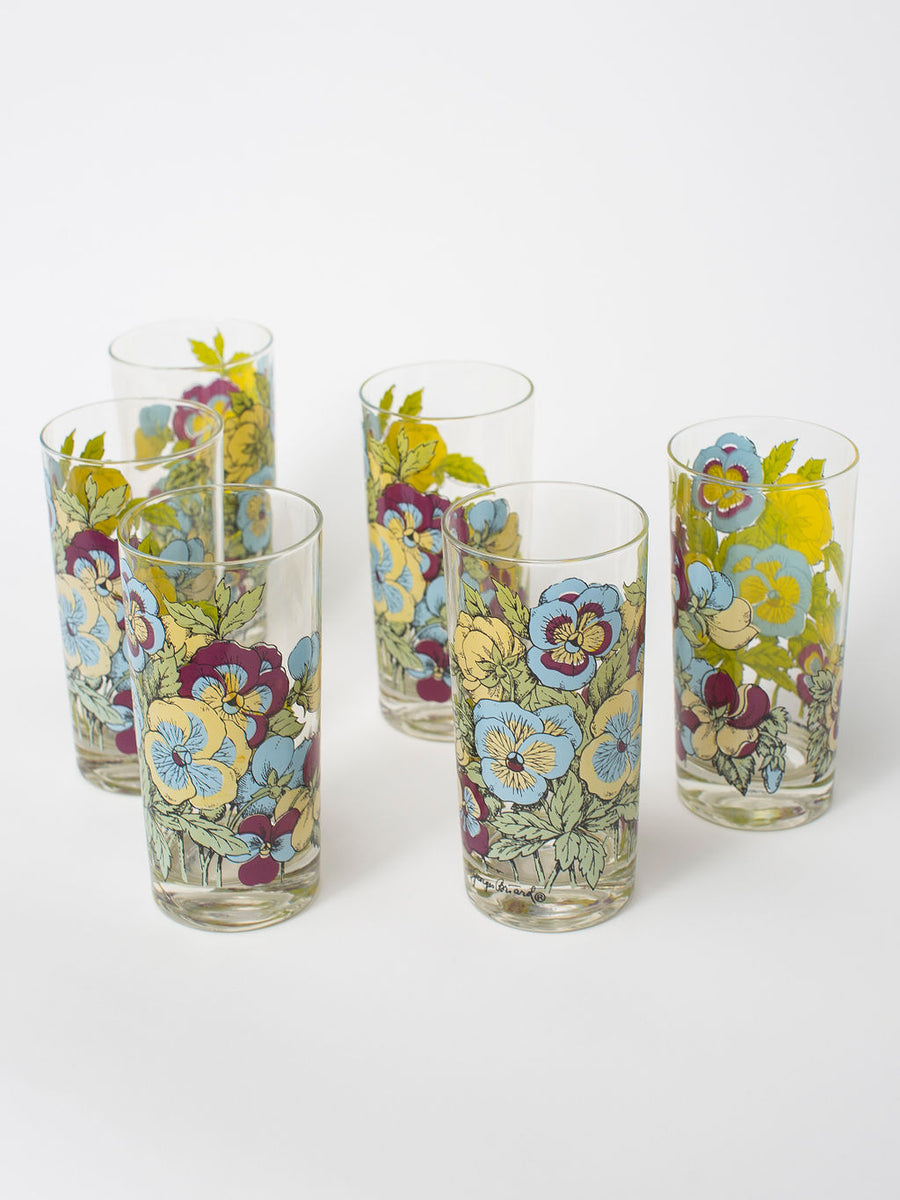 Vintage Floral Highball Glassware, Set of 6