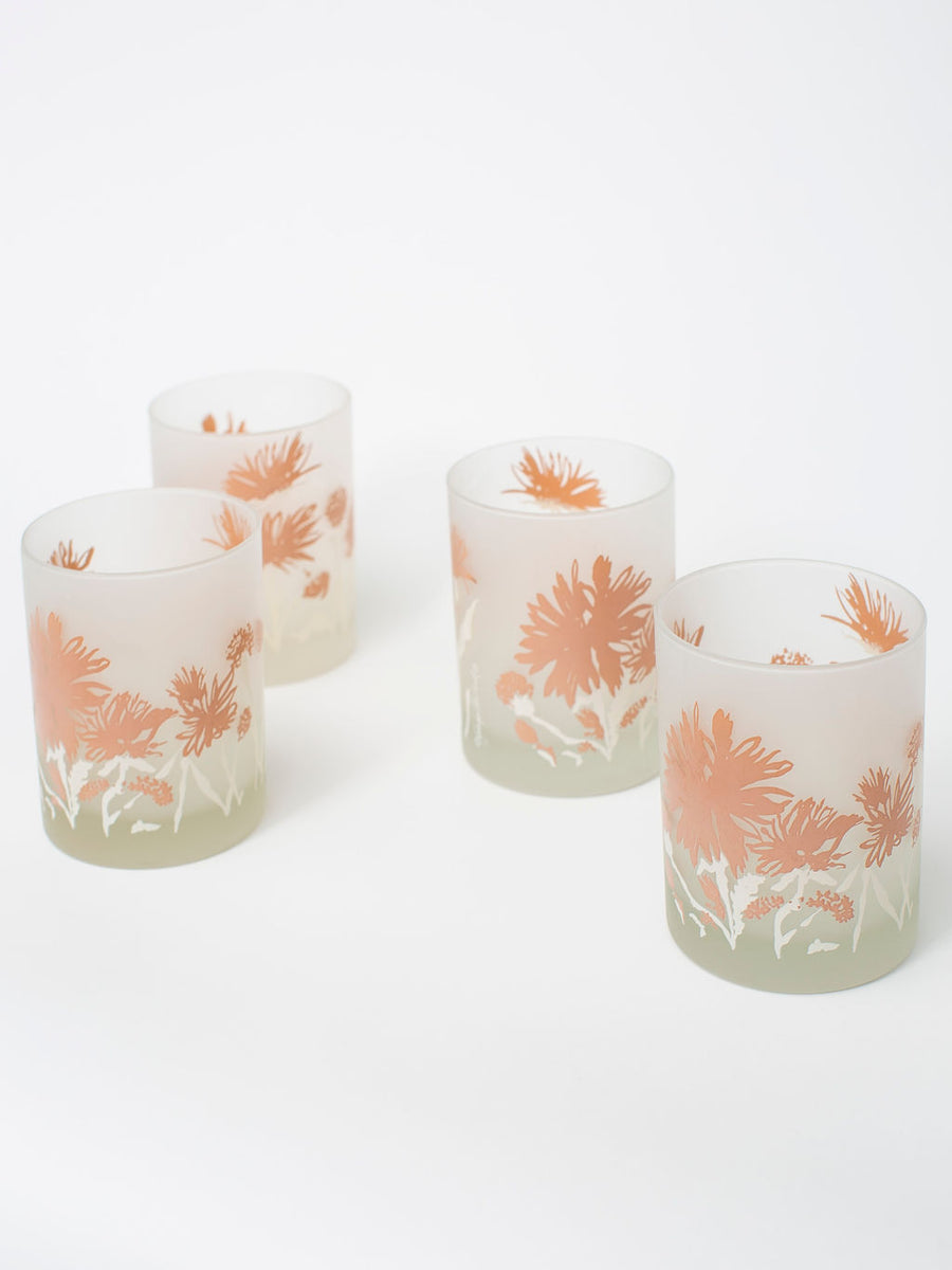 Vintage Floral Sketch Rocks Glassware