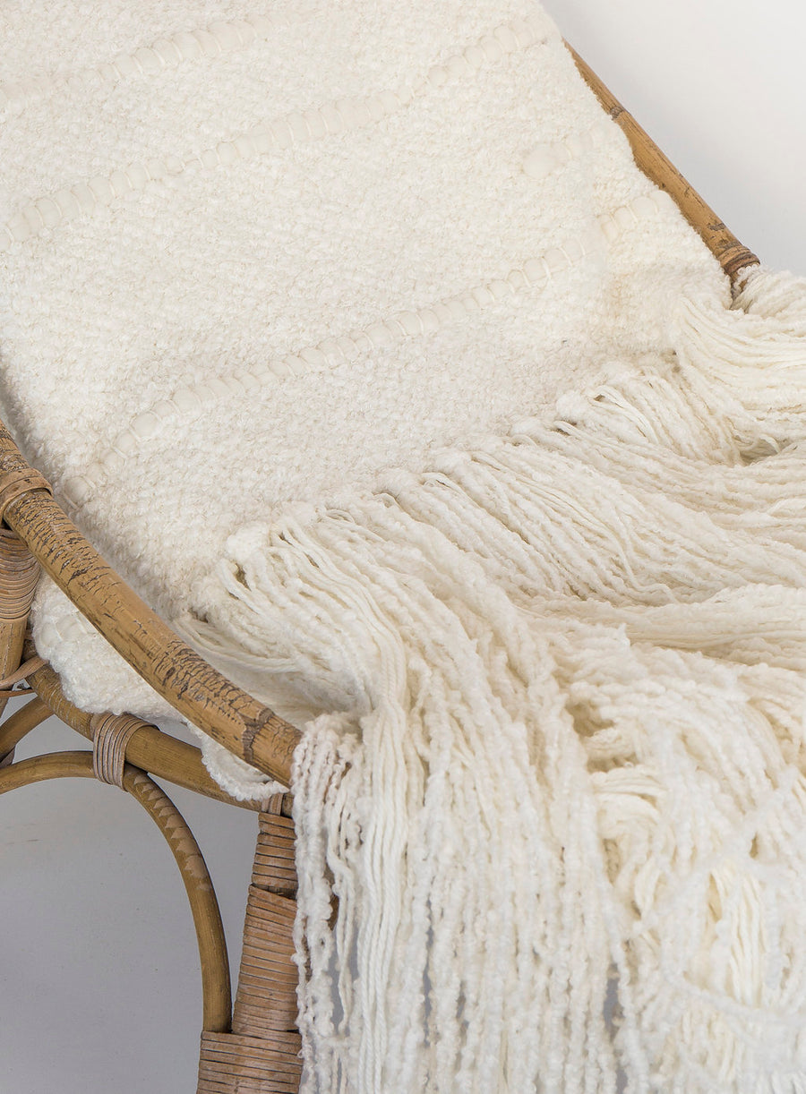 Alpaca White Boucle Throw