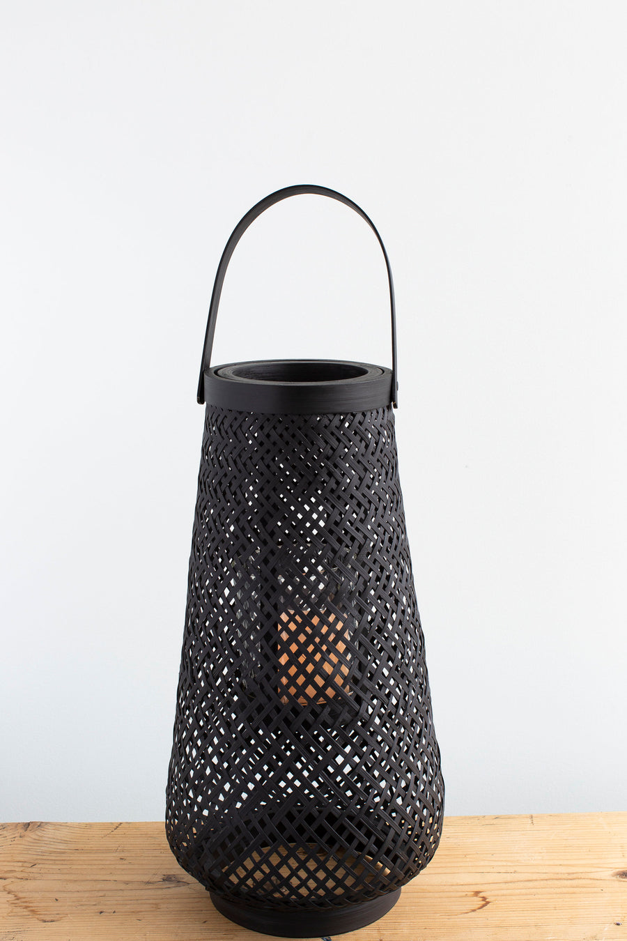 Black Wicker Candle Lantern