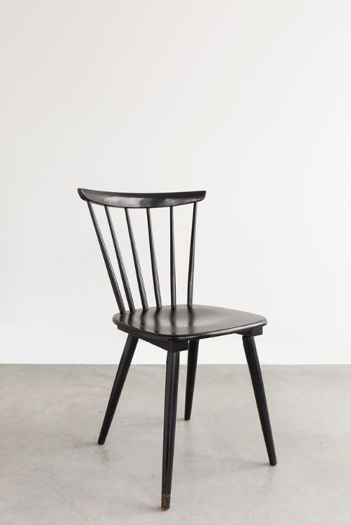 Black Wooden Chairs, Set of 4