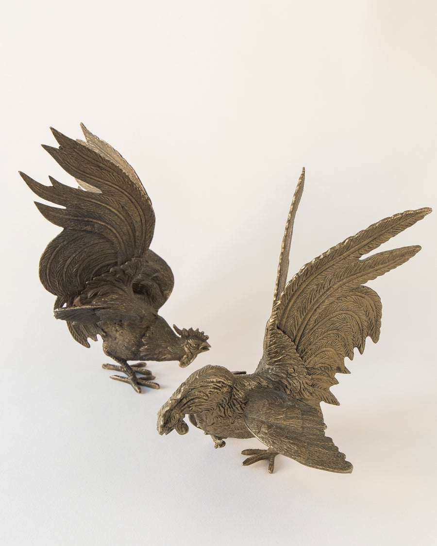 Antique Brass Roosters, pair